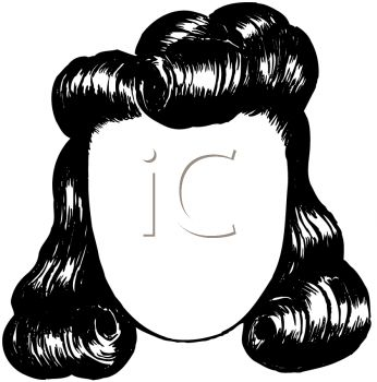 picture of a black wig with big curls in a vector clip art illustration
