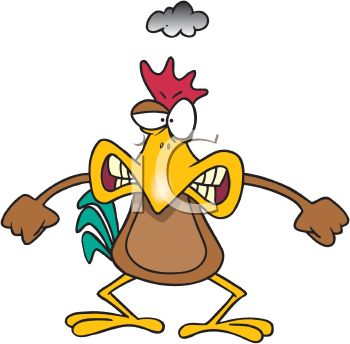 picture of an angry cartoon chicken holding his arms out in anger in a vector clip art illustration