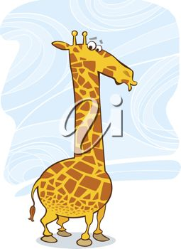 picture of a cartoon giraffe with his lips puckered in a vector clip art illustration