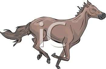 picture of a horse galloping in a vector clip art illustration