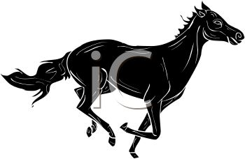 picture of a silhouette of a horse running in a vector clip art illustration