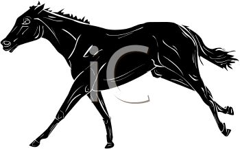 picture of a black horse kicking up his back legs in a vector clip art illustration