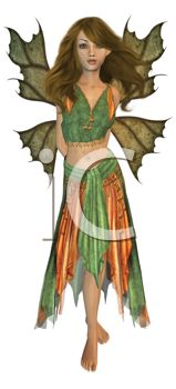 picture of a fairy standing up in a sexy pose in a vector clip art illustration