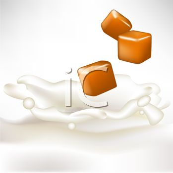 picture of a pieces of caramel floating above splashing milk in a vector clip art illustration