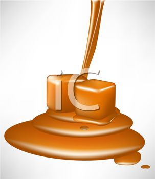 picture of a pouring caramel with caramel pieces in a  vector clip art illustration