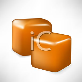 picture of a pieces of caramel in  a vector clip art illustration