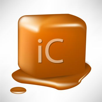 picture of a piece of melting caramel in a vector clip art illustration