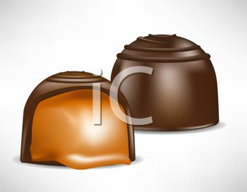 picture of two pieces of chocolate filled with caramel in a vector clip art illustration