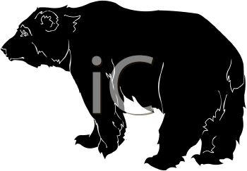 picture of a silhouette of a large black bear in a vector clip art illustration