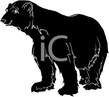 picture of a silhouette of a large bear in a vector clip art illustration