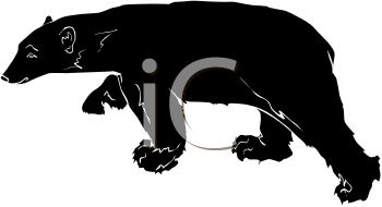 picture of a silhouette of a large bear walking in a vector clip art illustration