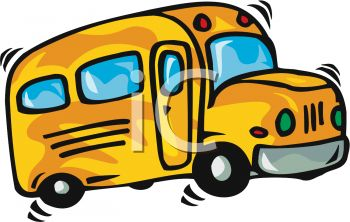 picture of a cartoon of a short school bus driving in a vector clip art illustration