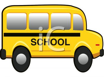 picture of a short school bus in a vector clip art illlustration
