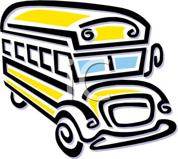 picture of a cartoon school bus in a vector clip art illustration