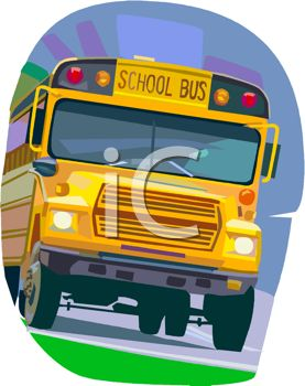 picture of a school bus driving in a vector clip art illustration