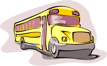 picture of a cartoon of a school bus in a vector clip art illustration