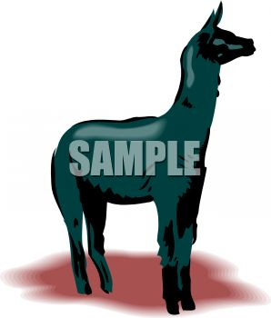 picture of a black llama standing in a vector clip art illustration