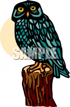 picture of a blue owl sitting on a log in a vector clip art illustration