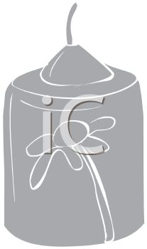 picture of a greyscale candle with a flower in a vector clip art illustration