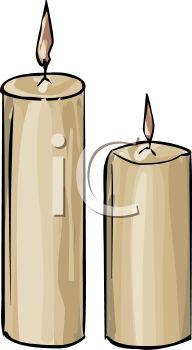 picture of 2 burning pillar candles in a vector clip art illustration