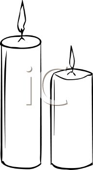 picture of 2 burning votive candles in black and white in a vector clip art illustration