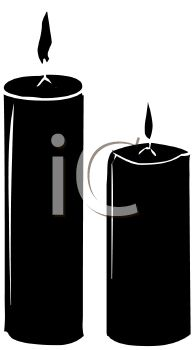 picture of 2 silhouette burning pillar candles in a vector clip art illustration
