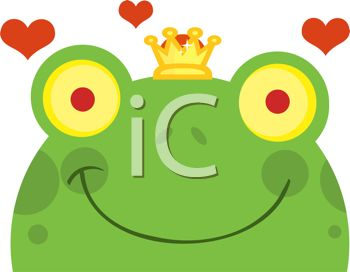 picture of a frog wearing a crown with hearts surrounding him in a vector clip art illustration