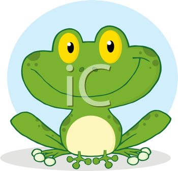 picture of a frog sitting down and smiling in a vector clip art illustration