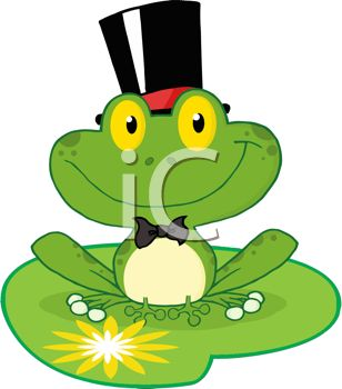 picture of a frog sitting on a lily pad wearing a tophat in a vector clip art illustration