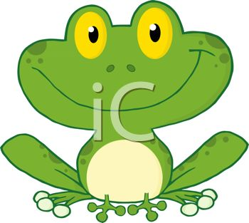 picture of a happy toad sitting down and smiling in a vector clip art illustration