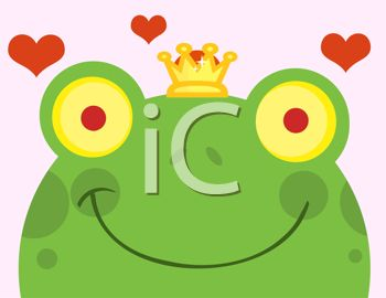 picture of a frog wearing a crown with hearts floating in the air in a vector clip art illustration