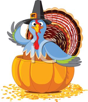 picture of a turkey sitting inside a pumpkin wearing  a top hat in a vector clip art illustration