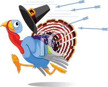 picture of a scared turkey running away from arrows being shot at him in a vector clip art illustration