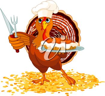 picture of a turkey holding a pie and fork and knife in a vector clip art illustration