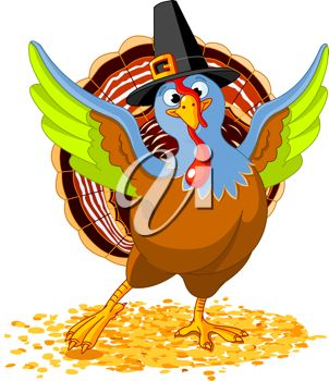 picture of a turkey dancing in a vector clip art illustration