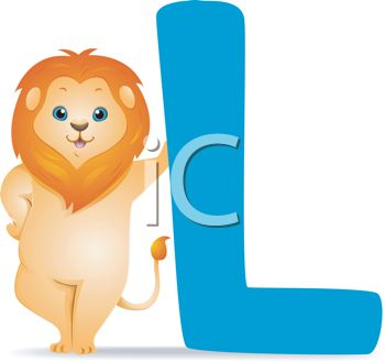 picture of a cartoon lion leaning on a blue letter L in a vector clip art illustration