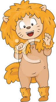 picture of a person dressed up in a lion costume in a vector clip art illustration