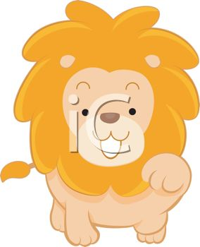 picture of a cartoon lion reaching out his paw in a vector clip art illustration