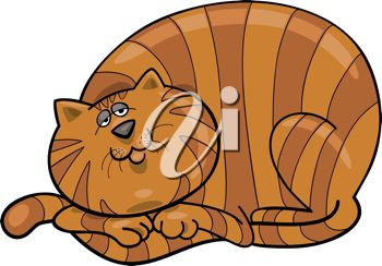 picture of a orange striped cat laying down in a vector clip art illustration