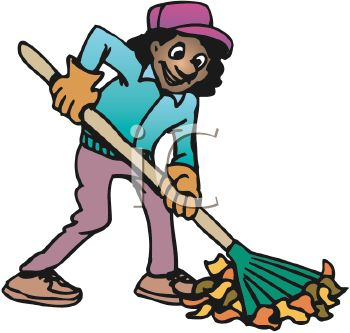 picture of a happy woman raking leaves in a vector clip art illustration
