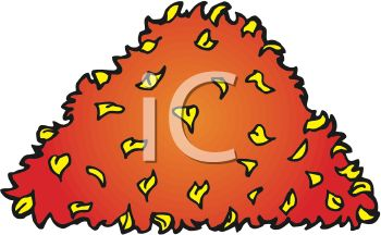 picture of a pile of leaves in a vector clip art illlustration