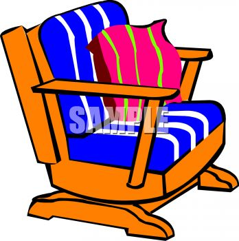 picture of a wooden rocking chair with cushions in a vector clip art illustration