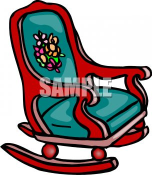 picture of a red wooden rocking chair with a blue cushion in a vector clip art illustration