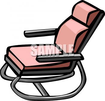 picture of a metal rocking chair with a pink cushion in a vector clip art illustration