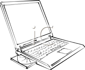 picture of a laptop in a vector clip art illustration