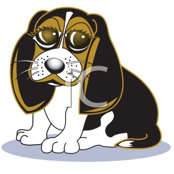 picture of a cute big eyed beagle sitting down in a vector clip art image