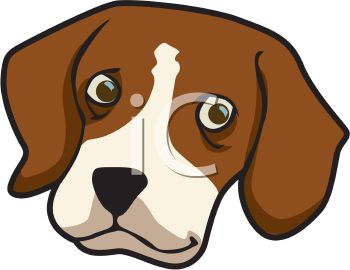 picture of the head of a beagle in a vector clip art illustration