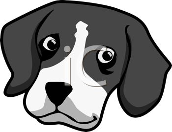 picture of a greyscale head of a dog in a vector clip art illustration