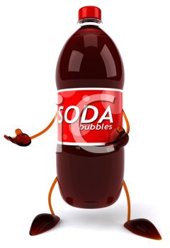 picture of a bottle of soda with arms and legs in a vector clip art illustration