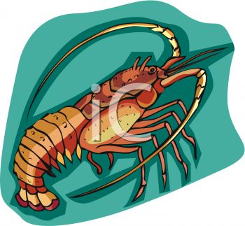 picture of a cartoon lobster on a blue background in a vector clip art illustration